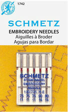 Schmetz 1742 Embroidery Sewing Machine Needles 130/705H-E 15x1 Assorted Size