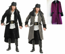 ADULT MENS COLONIAL PIRATE CAPTAIN SUEDE COSTUME COAT JACKET BLACK PLUM GREY