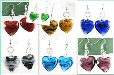 Mul;ti-Color Heart Shaped Murano Art Lampwork Glass Pendant Dangle Earring New