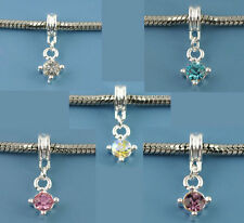 Wholesale Lots Mixed Silver Plated Rhinestone Dangle Charms Beads