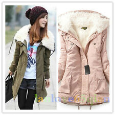Womens winter coat ladies faux lamb fluffy thick padded jackets coat parka XS-XL
