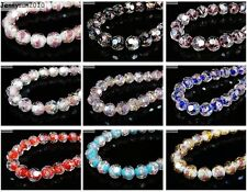 Lampwork Glass Interior Rose Flower Faceted Round Spacer Loose Beads Charms New