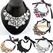 Fashion Bib Charm Necklace Jewelry Pendant Chain Crystal Choker Statement Gift
