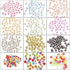 50pcs 4x7mm Acrylic Mixed Alphabet Letter Coin Round Flat Spacer Beads For DIY.