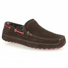 Clarks Kite Storm Brown Suede Mens Warm Lined Slipper