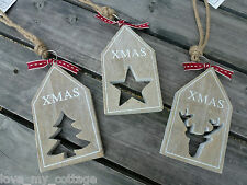 Christmas Tree Decoration Wooden Luggage Tag East of India Ribbon Reindeer Star