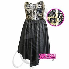 NEW WOMENS LADIES SEQUIN STRAPLESS DRESS PU FLARED SKIRT LEATHER BOOBTUBE LOOK