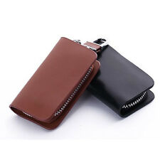 Gorgeous Smooth Leather Car Key Holder KeyChain Case Bag Zippered Small Gift