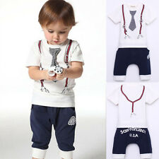 Kids Baby Boy Cotton Clothes Short Sleeve Tie T Shirt+Short Pants White