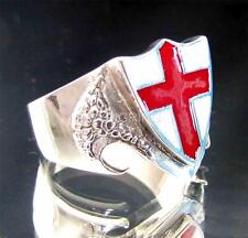STERLING SILVER DRAGON SHIELD RING ENGLAND FLAG COAT OF ARMS RED CROSS ON WHITE