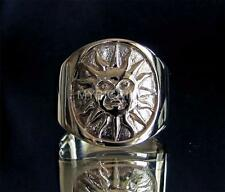 BRONZE RING SMILING AZTEC SUN SYMBOL HIGH POLISHED