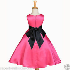 FUCHSIA HOT PINK A-LINE WEDDING FLOWER GIRL DRESS 12-18m 2T 3 4T 5T 6 8 10 12 14