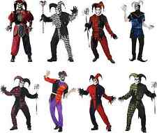 Mens Evil Jester Halloween Costume Adult Scary Harlequin Fancy Dress Outfit