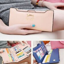 Fashion Women Lady Soft Leather Bowknot Clutch Wallet PU Card Long Purse Handbag