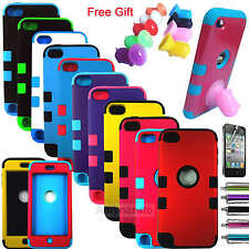 For iPod Touch 5th 6th Gen -HARD&SOFT RUBBER HIGH IMPACT ARMOR CASE HYBRID COVER