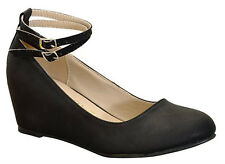 New Black Mary Jane Ankle Strap Med Low Hidden Wedge Heel Ballet Flat Pump Shoes