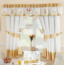 CHICKENS & ROOSTERS VOILE CAFE NET CURTAIN PANEL KITCHEN CURTAINS & PELMET