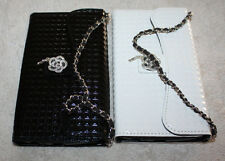 LG OPTIMUS G3 D855 LEATHER WALLET DIAMOND BLING FLIP CARD SLOT CASE CHAIN STRAP