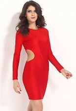 Pretty Girl O-neck Long Sleeves Sexy Side Cut Out Club Mini Party LC21034