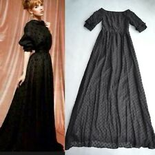 Black Small Dots Embroidery V-back Long Dress Floor Length 160cm