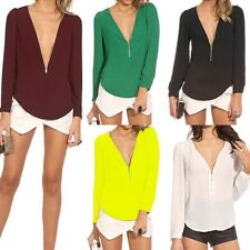 Sexy Zipper V-neck Womens Chiffon Tops Long Sleeve Shirt Casual Blouse T-shirts