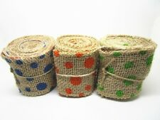 60mm*2yards Natural Jute Burlap Hessian Ribbon Dots Printed Trim Rustic Wedding