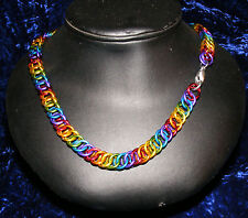 """14"""" - 28"""" Chainmail Gay Pride Double Rainbow Necklace 16ga  Steam SCA Cosplay"""