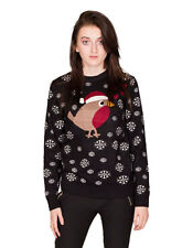 New Women's Ladies 2014 Christmas Jumper Love Hearts Robin Glitter Snowflakes