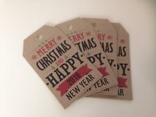 20 x Rustic 'Merry Christmas & Happy New Year' 2014 Gift Tags - ivory/brown