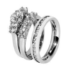 His Hers 3 PCS Stainless Steel Her Wedding Ring Set  and His All Around CZ Band