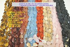 """Genuine High Quality Stone-15X20 mm Carved Leaf-Two (2) Strands of 14 to 15"""""""