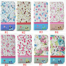 Bling Rhinestone Flower Leather Flip Stand Wallet Case Cover For Samsung Galaxy