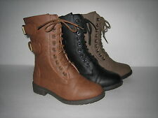 Kids Girls Military 2 Buckle Lace up Combat Boots Tan Black Conac