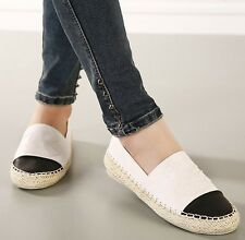 Lady Faux Leather Weave Espadrilles Slip On Comfort Loafers Boat Shoes  Sneakers