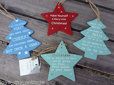Gisela Graham Wooden Sentiment Star Christmas Tree Hanging Decoration Gift Tags