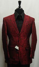 Mens Leonardi Jacket Robust Berry Red Black Paisley Cool Prom Blazer Style# 763