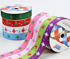 """100YDS 3/8"""" 5/8"""" tree star dotty Xmas pattern grosgrain ribbon for hairbow hs1"""