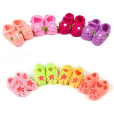 Newborn Infant Baby Girls Crochet Knit Flower Booties Crib Sandals Knitted Shoes