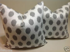 GRAY PILLOWS, SOFA PILLOWS, ONE DECORATIVE IKAT THROW PILLOW CASE CUSHION COVER