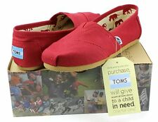 Toms Womens Classics Shoes Red Canvas Slip-On - All Sizes