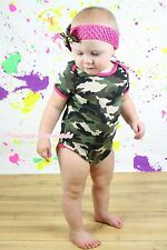 Infant Baby Camouflage One Piece Bodysuit Baby Jumpsuit Romper Set  NB-12Month
