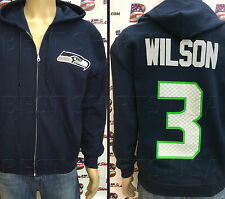 SEATTLE SEAHAWKS RUSSELL WILSON JERSEY ZIP-UP HOODIE SWEATSHIRT