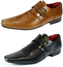 Red Tape Mens Mersey Real Leather Buckle Monk Slip On Shoes