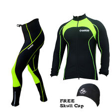Zimco Pro Winter Cycling Super Roubiax Padded Tight & Jersey/Jacket Neon Green