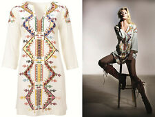 Topshop Kate Moss Embroidered Smock Tunic Dress Kaftan Folk 4 6 8 10 12 14 16