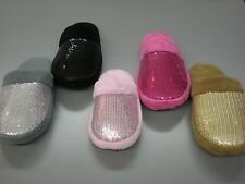 Women's Sequins Scuff House Slipper with Faux Fur Lining