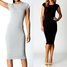 New Sexy Women Short Sleeve Casual Party Evening Cocktail Slim Pencil Midi Dress