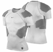 NIKE PRO COMBAT HYPERSTRONG COMPRESSION 4 PAD FOOTBALL SHIRT DRI FIT MENS WHITE