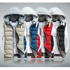 Winter Mens Slim Sleeveless Jacket Vest Hooded Tops Quilted Padded Coat Gilet