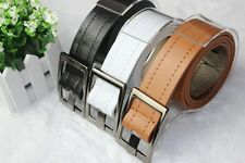 First-rate Cool Men Women Faux Leather Edge Sewing Thread Buckle Faux Belt EFCA